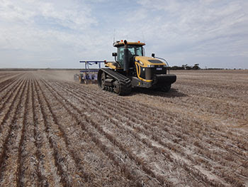 The Department of Agriculture and Food WA's trial deep ripper working in grey clay soil in Ongerup. Photo: DAFWA.