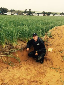 DAFWA research officer Bindi Isbister at a deep ripping trial in Binnu. Photo: DAFWA.
